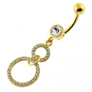 Buy 14G 10mm Yellow Gold Plated SterlingSilver Clear Jewel Round HangingS Belly Bar online