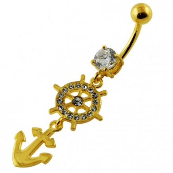 Buy 14G 10mm Yellow Gold Plated Silver Clear Jeweled Ship Helm Anchor Belly Bar online