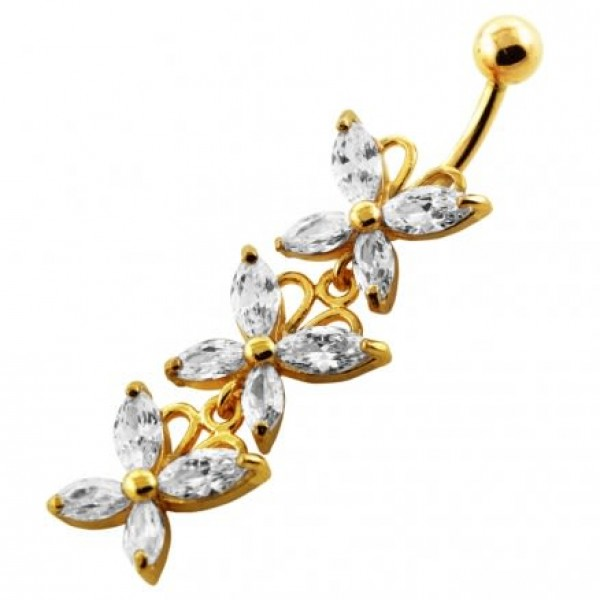 Buy 14G 10mm Yellow Gold Plated Sterling Silver Clear Jeweled 3 Butterfly Belly Bar online
