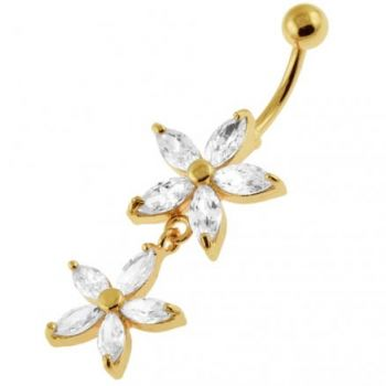 Buy 14G 10mm Yellow Gold Plated Sterling Silver Clear Jewel Multi Flower Belly Bar online