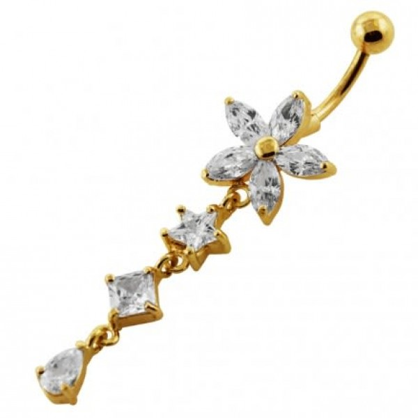 Buy 14G 10mm Yellow Gold Plated SterlingSilver Clear Jewel Studded Flower Belly Bar online
