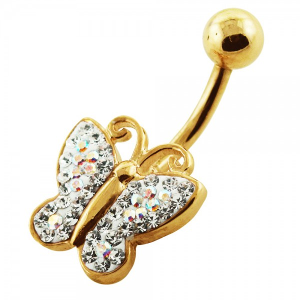 Buy 14G 10mm Yellow Gold Plated Silver Clear Jeweled Butterfly Shaped Belly Bar online