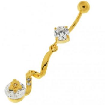 Buy 14G 10mm Yellow Gold Plated Sterling Silver Clear Jeweled Star SS Belly Bar online