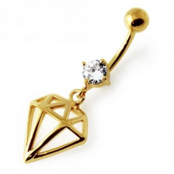 Buy 14G 10mm Yellow Gold Plated Sterling Silver Clear Jewel Diamond Cut Belly Bar online