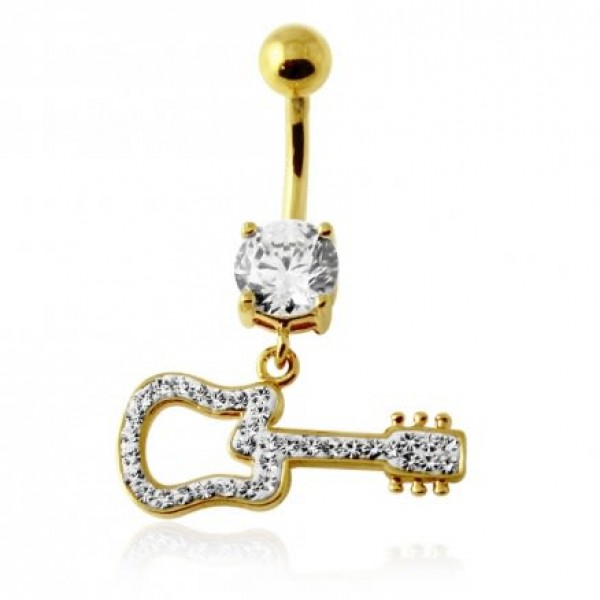 Buy 14G 10mm Yellow Gold Plated Sterling Silver Clear Jewel Fancy GUITAR Belly Bar online