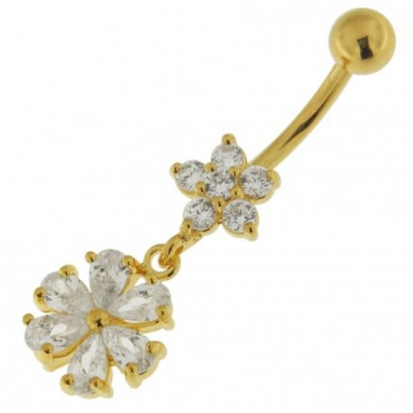 Buy 14G 10mm Yellow Gold Plated Sterling Silver Clear Jeweled Fancy Wheel Belly Bar online