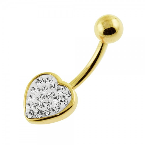 Buy 14G 10mm Yellow Gold Plated Sterling Silver Clear Jeweled Heart Shape Belly Bar online