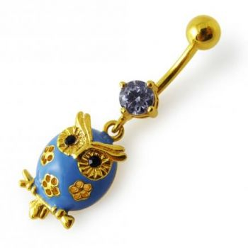 Buy 14G 10mm Yellow Gold Plated SterlingSilver Clear Jewel Dangling Owl Belly Bar online