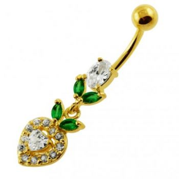 Buy 14G 10mm Yellow Gold Plated Sterling Silver Clear Jewel Multi Stone Belly Bar online