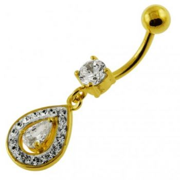 Buy 14G 10mm Yellow Gold Plated Sterling Silver Clear Jewel Pearl Shape Belly Bar online