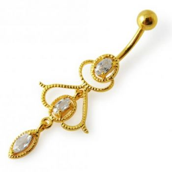 Buy 14G 10mm Yellow Gold Plated Sterling Silver Clear Jewel Fancy Charms Belly Bar online