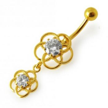 Buy 14G 10mm Yellow Gold Plated Sterling Silver Clear Jewel Fancy Classic Belly Bar online