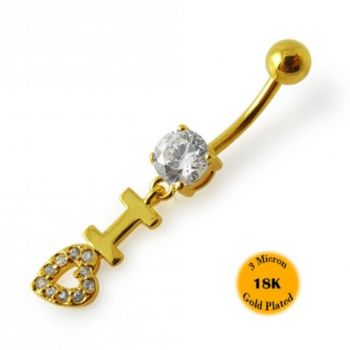 Buy 14G 10mm Yellow Gold Plated Sterling Silver Clear Jewel Loving Heart Belly Bar online