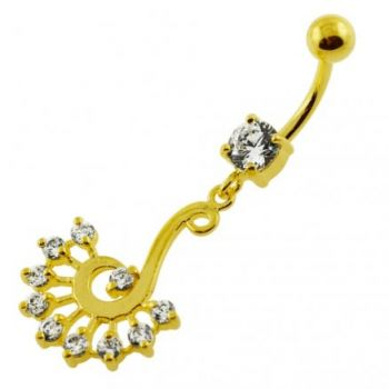 Buy 14G 10mm Yellow Gold Plated Sterling Silver Clear Jeweled Peacock Belly Bar online