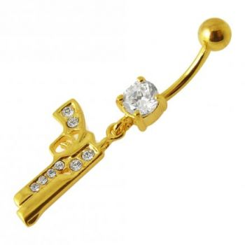 Buy 14G 10mm Yellow Gold Platted 925 Sterling Silver Clear Jeweled GUN Belly Ring online