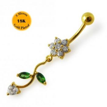 Buy 14G 10mm Yellow Gold Platted 925 Sterling Silver Clear Jeweled Flower Belly Ring online