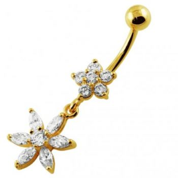 Buy 14G 10mm Yellow Gold Platted 925 Sterling Silver Clear Jewel 2 Flower Belly Ring online