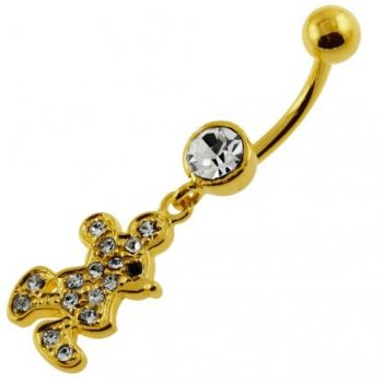 Buy 14G 10mm Yellow Gold Platted 925 Sterling Silver Clear Jeweled Doll Belly Ring online