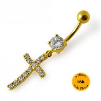 Buy 14G 10mm Yellow Gold Platted 925 Sterling Silver Clear Jeweled Cross Belly Ring online