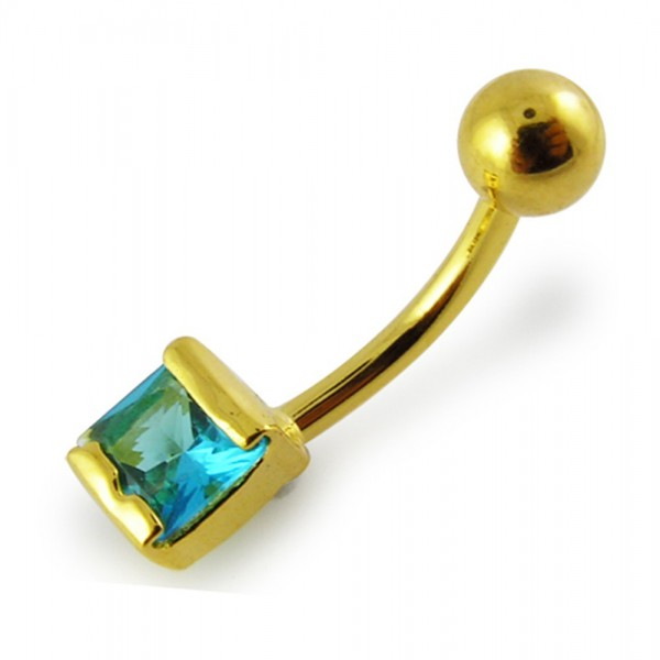 Buy 14G 10mm Yellow Gold Plated Silver Aquamarine Jeweled Non-Moving Belly Bar online