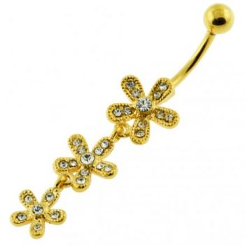 Buy 14G 10mm Yellow Gold Platted 925 Sterling Silver Clear Jewel 3 Flower Belly Ring online