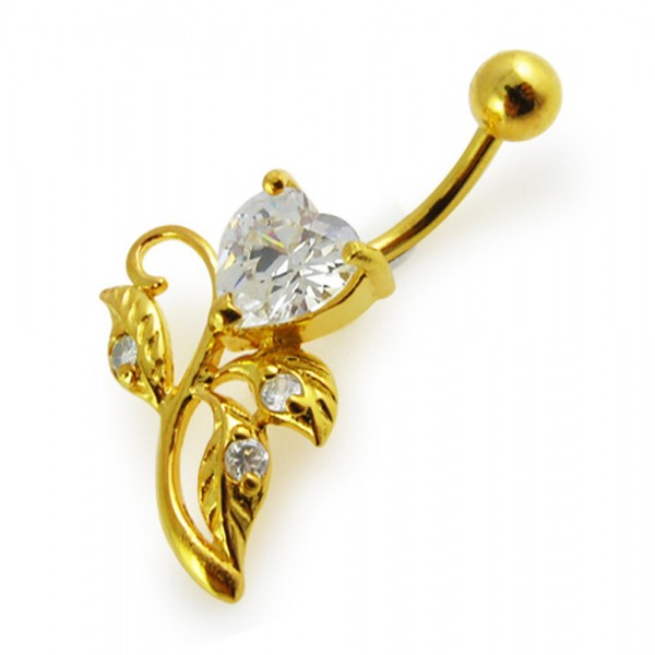 Buy 14G 10mm Yellow Gold Plated Sterling Silver Clear Jewel Heart W/ Leaf Belly Bar online