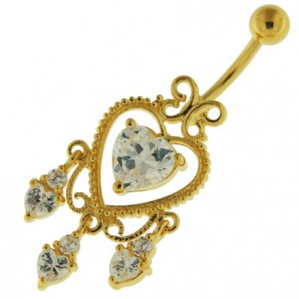 Buy 14G 10mm Yellow Gold Platted Sterling Silver Clear Jewel Heart Shape Belly Ring online