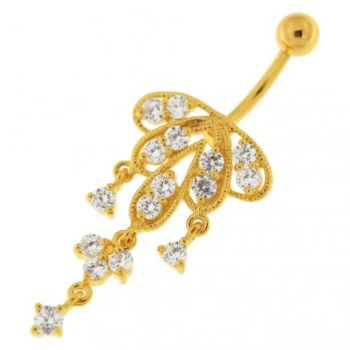 Buy 14G 10mm Yellow Gold Platted Sterling Silver Clear Jewel Chandeliers Belly Ring online