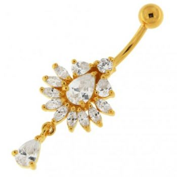 Buy 14G 10mm Yellow Gold Platted 925 Sterling Silver Clear Jewel Studded Belly Ring online