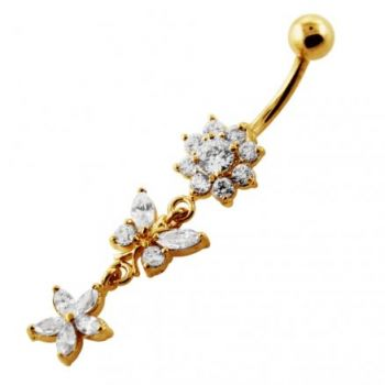 Buy 14G 10mm Yellow Gold Platted Silver Clear Jeweled Butterfly Flower Belly Ring online