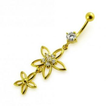 Buy 14G 10mm Yellow Gold Platted Silver Clear Jeweled 2 Flower Multi CZ Belly Ring online