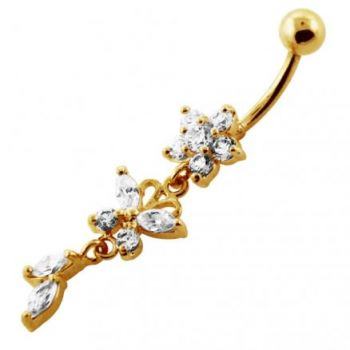 Buy 14G 10mm Yellow Gold Platted 925 SterlingSilver Clear Jewel Flower SS Belly Ring online