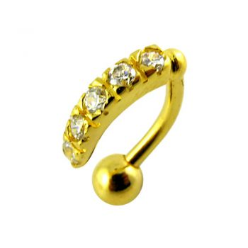 Buy 14G 10mm Yellow Gold Plated Sterling Silver Clear Jewel Reverse Belly Curve Bar online