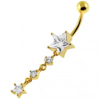 Buy 14G 10mm Yellow Gold Platted 925 Sterling Silver Clear Jewel Star Belly Ring online