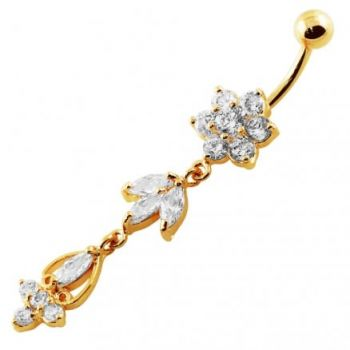 Buy 14G 10mm Yellow Gold Platted SterlingSilver Clear Jewel Flower Bunch Belly Ring online