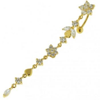 Buy 14G 10mm Yellow Gold Platted Silver Clear Jeweled Flower Climber Belly Ring online