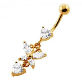 Buy 14G 10mm Yellow Gold Platted 925 Sterling Silver Clear Jewel Flower Belly Ring online