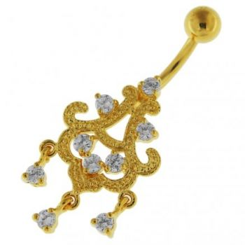 Buy 14G 10mm Yellow Gold Platted Silver Clear Jeweled Chandelier Sky Belly Ring online