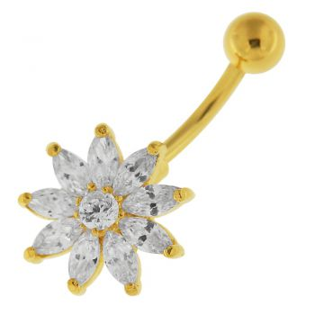 Buy 14G 10mm Yellow Gold Plated Silver Clear Jeweled Flower Non-Moving Belly Bar online