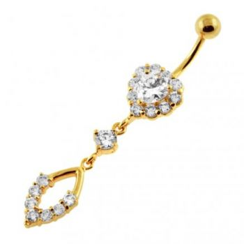 Buy 14G 10mm Yellow Gold Platted Silver Clear Jeweled Heart With Surgical Bar Belly Ring online