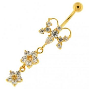 Buy 14G 10mm Yellow Gold Platted Silver Clear Jewel Butterfly 2 Flower Belly Ring online