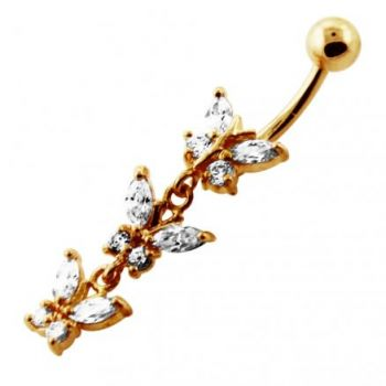 Buy 14G 10mm Yellow Gold Platted Silver Clear Jeweled Fancy 3 Butterfly Belly Ring online