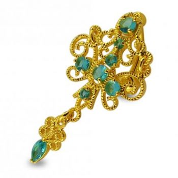 Buy 14G 10mm Yellow Gold Platted Silver Aqamarine Chandelier Special Belly Ring online