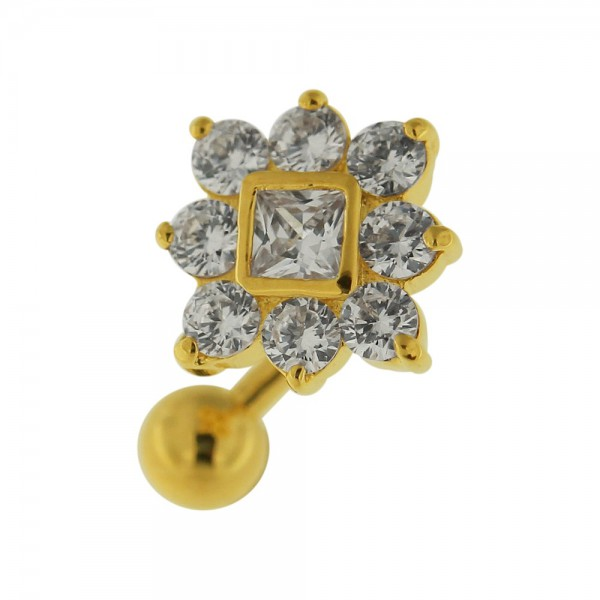 Buy 14G 10mm Yellow Gold Plated Silver Clear Jeweled Non-Moving Reverse Belly Bar online