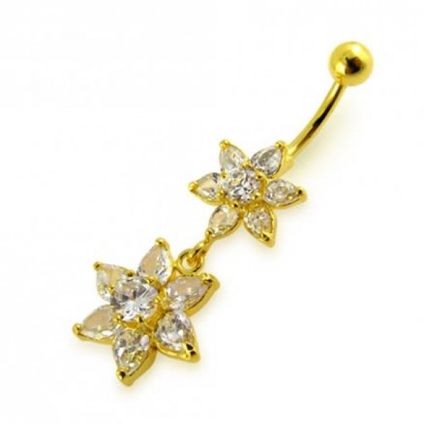 Buy 14G 10mm Yellow Gold Platted Silver Clear Jeweled Flowers Design Belly Ring online
