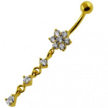Buy 14G 10mm Yellow Gold Platted Silver Clear Jeweled Moving Flower Belly Ring online