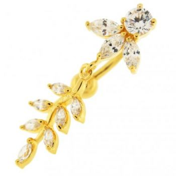 Buy 14G 10mm Yellow Gold Platted Silver Clear Jeweled Design Moving Belly Ring online