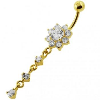 Buy 14G 10mm Yellow Gold Platted Sterling Silver Clear Flower Design Belly Ring online