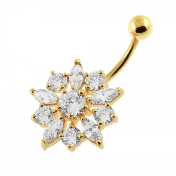 Buy 14G 10mm Yellow Gold Plated Sterling Silver Clear Jewel Flower Banana Belly Bar online