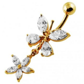 Buy 14G 10mm Yellow Gold Platted Silver Clear Jewel Butterfly W/ Flower Belly Ring online